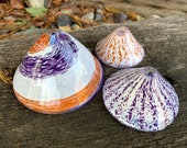 Glass Limpet Shells, Set of Three Conical Sea Shell Sculptures, Purple & Orange, Beach Decor Coastal Style Hand Blown Art, Avalon Glassworks