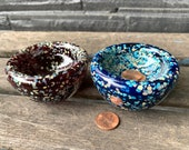 """Mini Dishes, Set of Two Hand Blown Glass 3"""" Salt Cellars, Jewelry Holders, Dipping Sauce Pinch Bowls, Dark Red Blue Beige, Avalon Glassworks"""