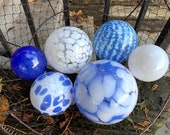 "Light Blue & White Floats, Set of Six, 2.75""-4.5"" Decorative Blown Glass Balls, Nautical Pond Spheres, Garden Art Decor, Avalon Glassworks"