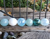"Airy Shades of Blue, Blown Glass Balls, Set of Six Translucent 2.5"" - 2.75"" Pond Floats, Garden Decoration, Basket Filler, Avalon Glassworks"