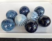 Navy Blue and White Floats, Set of 8 Small Decorative Hand Blown Glass Garden Balls Nautical Pond Spheres Interior Design, Avalon Glassworks