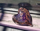 "Sparkling Gold Fleck on Purple Glass Heart, Solid Heart-Shaped 3"" Paperweight Sculpture, Appreciation Gift, By Avalon Glassworks"