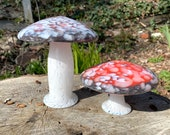 """Glass Amanita Mushrooms, Set of Two, with Red, White, Gray Spots, 3.5""""-6"""" Tall, Blown Glass Garden Sculptures, Fungus, by Avalon Glassworks"""