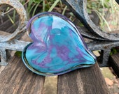 Purple and Turquoise Blue Glass Heart, Solid Heart-Shaped Paperweight Sculpture, Appreciation Valentine Anniversary Gift, Avalon Glassworks
