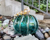 "Larger Aqua Green, Transparent, 5"" Blown Glass Pumpkin, Decorative Gourd Sculpture with Dark Gold Ribs and Stem, By Avalon Glassworks"