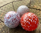 "Red and White Spotted Glass Floats, Set of Three 3.5"" Hand Blown Glass Garden Balls, Nautical Cottage Decor, by Avalon Glassworks"