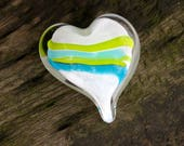 "Aqua & Green Striped Glass Heart, Solid Heart-Shaped 3.5"" Paperweight Sculpture, Appreciation Gift By Avalon Glassworks"