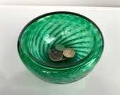 "Green Sparkle Bowl, 4.5"" Double-Wall Style Emerald Blown Glass Candy Dish, Jewelry Holder, Key Drop, Entry Hall Art Decor, Avalon Glassworks"