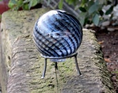 "West Seattle Float with Stand, Black & Clear Optic Twist Blown Glass 4"" Ball With Silver Etched Bridge Graphic, by Avalon Glassworks"