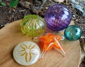 Glass Sea Life and Float Set, Five Piece Sea Life Sculpture Set Includes Urchin, Sea Star, Sand Dollar and Floats, By Avalon Glassworks