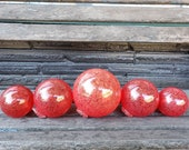 "Bright Red Glass Balls, Set of Five 2.5""-4.5"" Hand Blown Garden Art, Outdoor Pond Spheres, Fishing Floats, Coastal Decor, Avalon Glassworks"