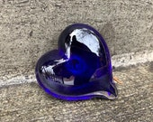 "Cobalt Blue Glass Heart, Solid Heart-Shape 3"" Paperweight Sculpture, Valentine's Day, Appreciation, Anniversary Gift, By Avalon Glassworks"
