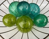 "Ocean Colors, Green & Blue Toned Spotted Floats, Set of Six, 2.5"" to 3.5"" Blown Glass Decorative Garden Balls by Avalon Glassworks"