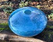 "Blue Nest Bowl, Hand Blown Glass 8.5"" Decorative Asymmetrical Bowl Light Spot Wrap Pattern, Wrap Design, Organic, Natural, Avalon Glassworks"