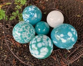"Turquoise and White Glass Balls, Set of Six 2.5""-3.5"" Decorative Blown Glass Floats, Outdoor Garden Art, Pond Spheres, by Avalon Glassworks"