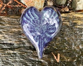 "Purple and Green Glass Heart, Solid 3"" Paperweight Sculpture, Valentine's Day, Anniversary, Appreciation Gift, By Avalon Glassworks"