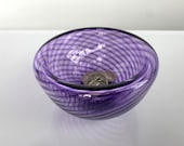"""Purple Hand Blown Glass Bowl, 4.25"""" Double-Wall Style Optic Twist Pattern, Candy Dish Jewelry Holder Key Drop Entry Decor, Avalon Glassworks"""