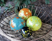 "Turquoise, Orange, Green & Blue Blown Glass Floats, Set of Four 2.5"" and 3.5"" Colorful Glass Decorative Balls by Avalon Glassworks"