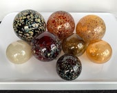 "Earth Tone Glass Floats, Set of Eight 2.5""-4"" Natural Colors, Red Brown Amber Gold Beige, Interior Design Balls Spheres, Avalon Glassworks"