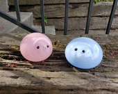 """Pink and Blue Chicks, Set of Two 3"""" Blown Glass Bird Sculptures, for Easter, Mantel or Tabletop, By Avalon Glassworks"""