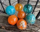 "Orange and Turquoise Floats, Set of 7 Blown Glass Balls, 2.75""-3.5"" Sturdy Decorative Interior Design Garden Art Spheres, Avalon Glassworks"