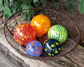 "Pops of Color, Set of Five 2.5""-4.5"" Blown Glass Decorative Floats in Orange, Red, Blue, Green, and Yellow, By Avalon Glassworks"