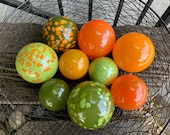 "That 70's Set, Green and Orange Floats, Set of Nine, 2.75""-3.5"" Blown Glass Decorative Balls, Garden Art, Pond Floats, By Avalon Glassworks"