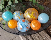 "Aqua & Orange Glass Balls, Set of Seven, 2.5"" to 4.5"" Hand Blown Floats, Sturdy Decorative Garden Spheres by Avalon Glassworks"