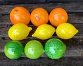 Glass Fruit, Set of 9 Citrus, Hand Blown Lemon Lime Orange, Sunny Kitchen Art Decor Table Centerpiece Bright Yellow Green, Avalon Glassworks
