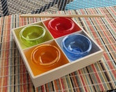 "Summer Special: Set of Four Mini Dishes in Wood Tray, Blown Glass 3"" Salt Cellars, Dipping Sauces, Pinch Bowls By Avalon Glassworks"