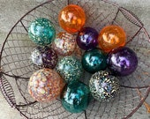 Teal Orange Purple Spot Floats, Set of 12 Decorative Blown Glass Balls Small Pond Spheres Outdoor Garden Art Coastal Decor Avalon Glassworks