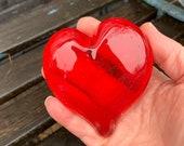 "Red Glass Heart, Solid Heart-Shape 3"" Transparent Paperweight Sculpture, Appreciation Valentine Anniversary Wedding Gift, Avalon Glassworks"