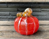 "Red Glass Pumpkin, 4"" Decorative Gourd with Gold Ribs & Coiled Stem, Autumn, Thanksgiving, Christmas Table Centerpiece, Avalon Glassworks"