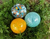 "Turquoise, Aqua & Orange Spotted Floats, Set of Three, 3.5"" Blown Glass Spheres, Decorative Balls, By Avalon Glassworks"