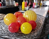 "Glass Floats, ""Luna Park Cafe"" Set, Group of Seven 2.5"" to 4"" Yellow, Red, Orange Blown Glass Orbs, Decorative Balls by Avalon Glasswork"