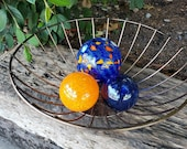 "The ""Coast Guard"" Floats, Set of Three Decorative Hand Blown Glass Garden Balls, Nautical Home Décor, Pond Floats, By Avalon Glassworks"