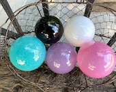 Princess Colors Blown Glass Balls, Set of 5 Floats, Opaque Pink, Purple, Turquoise, Black, White, Home or Garden Art Decor Avalon Glassworks