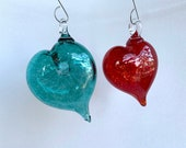 "Hanging Glass Heart Ornaments, Set of 2, Red & Aqua Green, 3"" Blown Art Glass Sun Catchers, Holiday Christmas Decorations, Avalon Glassworks"