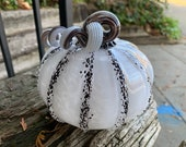 "Black and White Glass Pumpkin, 5"" Decorative Squash Sculpture with Curly Coil Two-Tone Stem, Autumn Decoration, Blown By Avalon Glassworks"