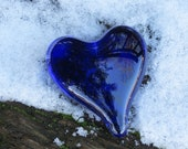 "Cobalt Blue Glass Heart, Solid Heart-Shape 3"" Paperweight Sculpture, Appreciation Gift, By Avalon Glassworks"