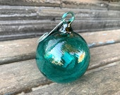 Green Blown Glass Fishing Float Ornament Aqua Blue Teal Decorative Hanging Ball Nautical Outdoor Holiday Decor Sun Catcher Avalon Glassworks