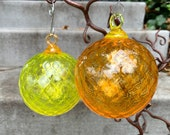 "Citrus Colors Blown Glass Ornaments, Set of Two, 3"" Yellow and Orange Diamond Facet, Hanging Holiday Decor, Sun Catchers, Avalon Glassworks"