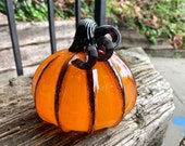 "Orange and Black Stripe Pumpkin, 5"" Decorative Blown Glass Squash Sculpture with Curly Dark Stem and Accent on Ribs, By Avalon Glassworks"