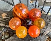 "Extra Large Orange Float Set of Seven, 3.5"" - 6"" Glass Garden Balls in Light & Dark Orange, Decorative Floating Spheres, Avalon Glassworks"