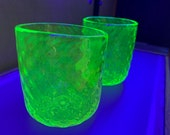 "Uranium Glass Tumbler Set, Glows in Black Light, Hand Blown Vaseline Glass Set of Two 3"" Cups, Glasses, Bright Yellow, Avalon Glassworks"