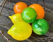 Glass Fruit, Set of 6 Citrus, Hand Blown Lemon Lime Orange, Sunny Kitchen Art Decor Table Centerpiece Bright Yellow Green, Avalon Glassworks