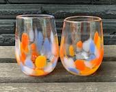 Orange Blue Bright Spot Hand Blown Glass Drinking Glasses, Set of 2, Water Juice Stemless Wine Hand Made Glassware Drinker Avalon Glassworks