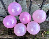 "Bright & Light Pink Glass Floats, Set of Six 2.5""-3"" Balls Cotton Candy Pinks Decorative Outdoor Garden Art Pond Spheres, Avalon Glassworks."