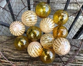 Amber Beige Brown Hand Glass Floats, Set of 12 Small Garden Balls Floating Spheres Transparent Gold Opaque Natural Spots, Avalon Glassworks