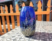"Small Arboretum Vase, 8"" Tall Blown Glass Vase, Modern Design Art Glass in Dark Blue, Branch & Leaf Pattern, Hand Blown By Avalon Glassworks"